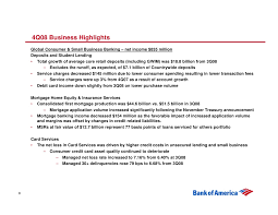 Bank Of America Business Card Services Bank Of America Fourth Quarter 2008 Results