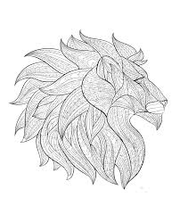 lion head profile animals coloring pages for adults justcolor