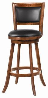 furniture brown wooden swivel bar stools with round black leather
