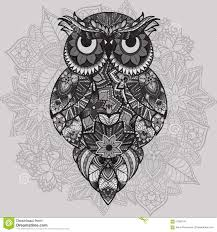 patterned vector owl on the ornamental mandala background