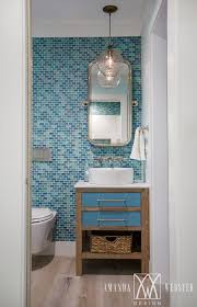 coastal bathroom with turquoise tile amanda webster design