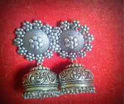 Buy Tribal German Silver Jhumka Tbze0027 Large German Silver Jhumkas The Bead Zing