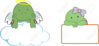 turtle kid angel copy space cloud set royalty free cliparts