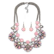 sweet earrings wholesale sweet pink gem flower layer earrings necklace set