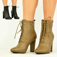 s heeled ankle boots uk womens lace up ankle boots block high heel zip smart
