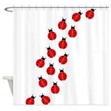 Ladybug Bathroom Towels Memory Home New Bathroom Decor Red Ladybug Line White Shower Curtain