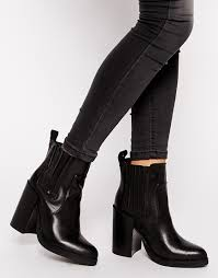heeled biker boots look doolittle leather heeled chelsea boots at asos com