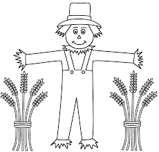 scarecrow with wheat sheaves coloring page halloween