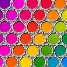 paint can color palette cans opened top view stock photo