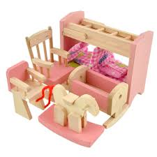 Doll House Bunk Bed Wooden Doll Bunk Bed Set Furniture Dollhouse Miniature For Kids