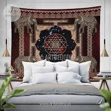 Wall Tapestry Hippie Bedroom Boho Tapestry Sacred Yantra Wall Tapestry Hippie Tapestry Wall