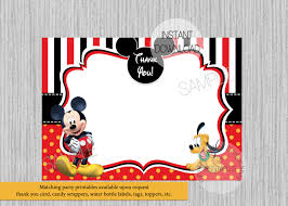 Mickey Mouse Invitation Card Disney Mickey Mouse Baby Shower Thank You Card Instant