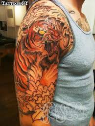 amazing tiger japanese tiger on right half sleeve