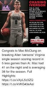 Allen Iverson Meme - chasing iverson feb 21 2018 mac mcclung scores 41 breaks allen