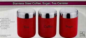 red kitchen canister set tea coffee sugar box jars caddy canister red black cream or silver