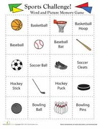 sports matching game matching games worksheets and sports