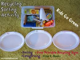 learn with play at home recycling sorting activity free