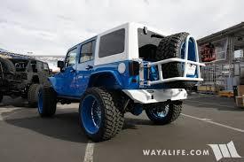 light blue jeep sema 2016 sobecustoms blue white jeep jk wrangler unlimited