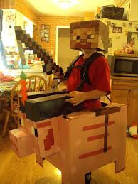 Mine Craft Halloween by Steve Riding A Pig Minecraft Cardboard Halloween Costume Carrots