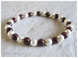 bead bracelet images Deep burgundy maroon red garnet cream swarovski pearls bead png