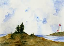 lighthouse and pine trees painting by michael vigliotti