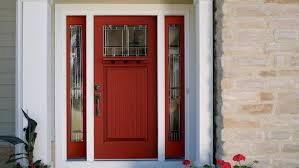 Red Front Doors Painted Front Door With Sidelights