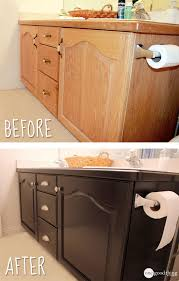 Gel Stained Cabinets Before And After Give Your Bathroom Vanity A Facelift One Good Thing By Jillee
