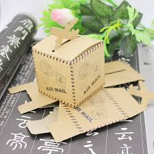 gifts by mail 50pcs nautical air mail brown kraft paper airplane candy box cube