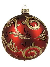 red line swirls fine decoration polish glass christmas ornament