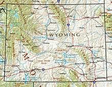 map usa showing wyoming wyoming