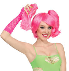 costumes with short pink wig wigs by unique