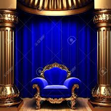 Blue Velvet Curtains Blue Velvet Curtains Gold Columns And Chair Stock Photo Picture