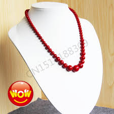 red chain necklace images Hot sale trendy 6 14mm round beads high quality women necklace red jpg
