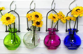 amazon com colored glass hanging flower wall vases g77 lot of 4