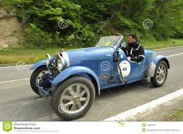 vintage bugatti race car bugatti car running in mille miglia race editorial stock image