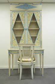 Oriental Secretary Desk by Custom Hand Painted Italian Style Secretary Desk And Chair In The