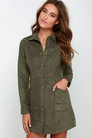 olive green dress suede dress long sleeve dress 58 00