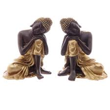 pair set decorative gold brown resting head thai buddha statue