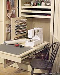 sewing room in a closet closet doors clutter and purpose