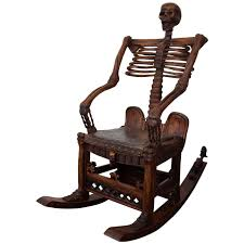 Outdoor Rocking Chairs Cracker Barrel Chairs An Antique Hand Carved Skeleton Rocking Chai Walnut And