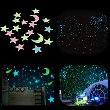 home decor wall art stickers 18pcs plastic glowing in the dark moon stars stickers wall art