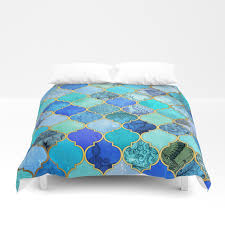 Duvet Covers Teal Blue Cobalt Blue Aqua U0026 Gold Decorative Moroccan Tile Pattern Duvet