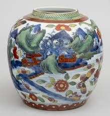 product chinese qianlong period blue white clobbered ginger jar