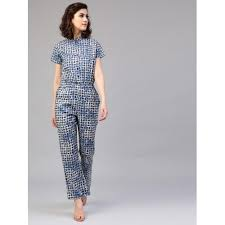 cotton jumpsuit buy aks blue cotton sleeves printed jumpsuit