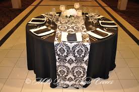 Black And White Chair Covers White Prints On Black Damask Satin Lamour Runner Md Decor Chair