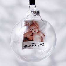 personalised photo baby u0027s first christmas bauble by sophia