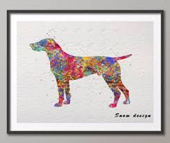 dog wall art original german shorthaired pointer dog watercolor canvas painting