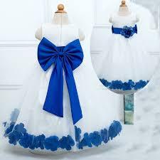 white and blue flowers sweet scoop princess sleeveless tulle white flower girl dress