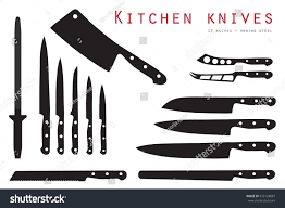 honing kitchen knives vector illustration meat cutting knives set stock vector 516124687