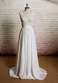 beach wedding gown lace wedding dress chiffon prom dress long